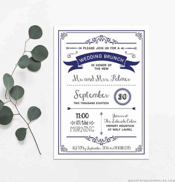 Printable DIY Wedding Brunch Invitation