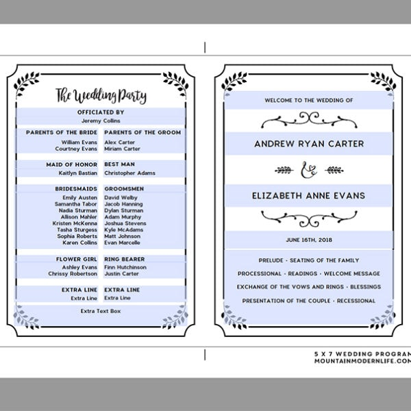 Editable Wedding Program Sample | MountainModernLife.com