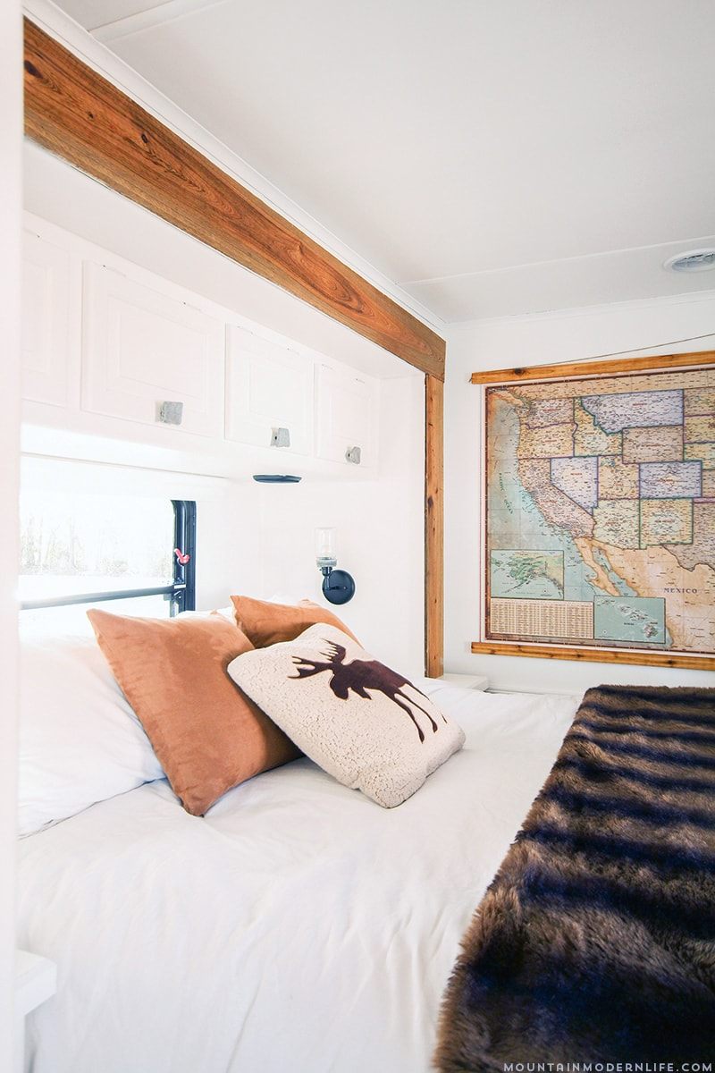 Rustic RV Bedroom with Updated Slide-Out Moulding | MountainModernLife.com