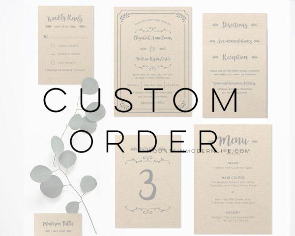 Custom Order - Printable Invitation Templates | MountainModernLife.com