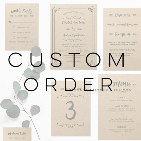 Custom Order - Printable Invitation Templates | MountainModernLife.com