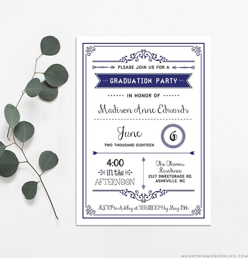 Printable Navy DIY Graduation Party Invitation ...