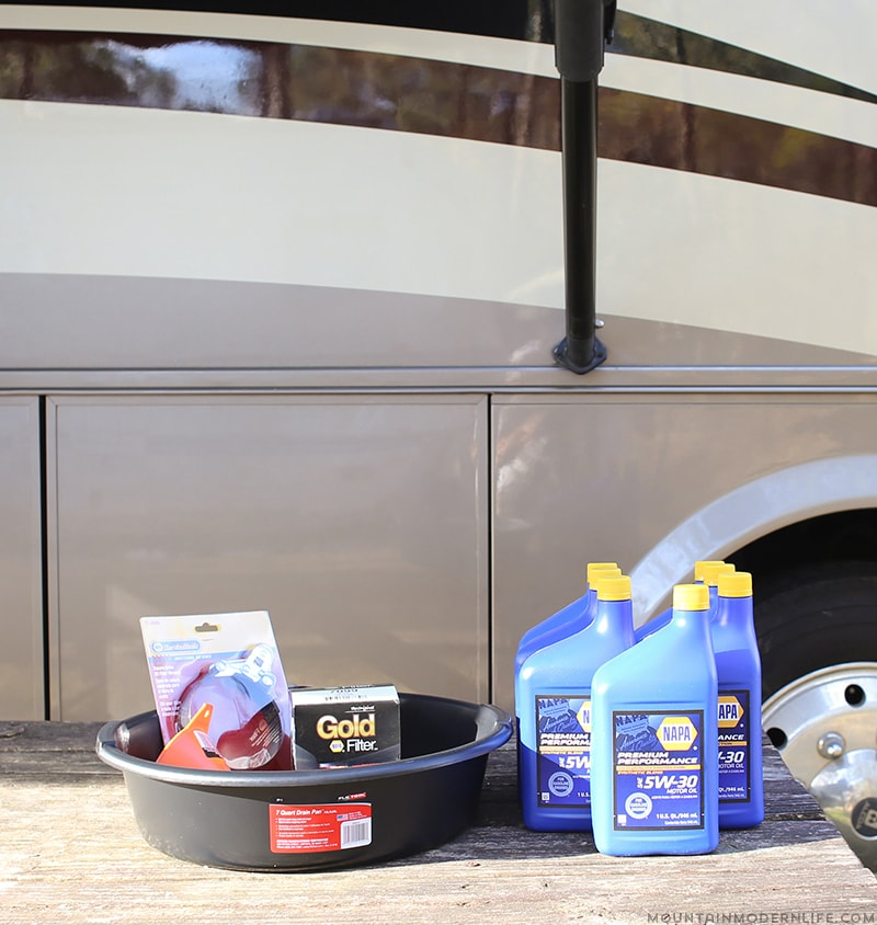 Have you considered changing the oil in your rig? If so don't worry it's not as bad as you'd think. Here's how we went about changing the oil in our gas RV. Mountainmoderlife.com
