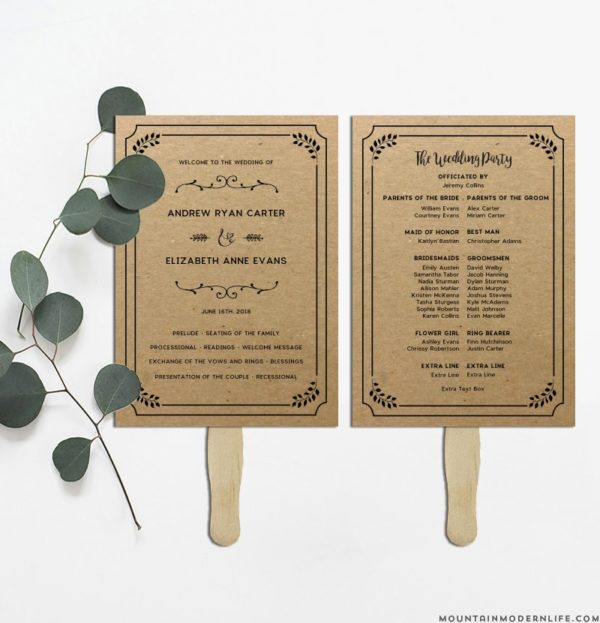 Printable Rustic DIY Wedding Program | MountainModernLife.com