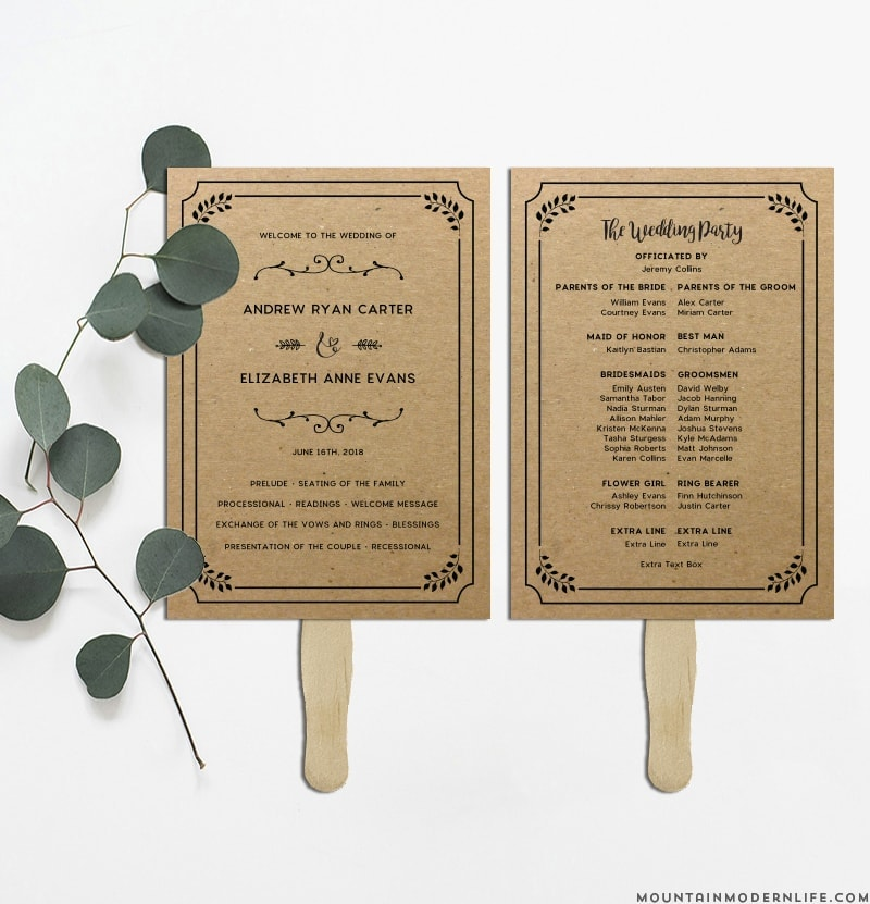 Wedding Program Fan Template.Printable Rustic Diy Wedding Program Fan
