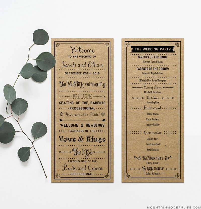 printable rustic diy wedding program mountainmodernlife com