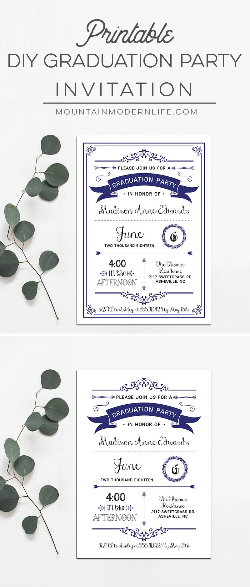 printable navy diy graduation party invitation. Black Bedroom Furniture Sets. Home Design Ideas