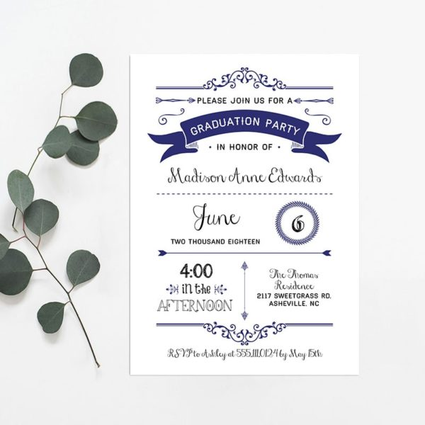 Printable navy diy graduation party invitation for Graduation party checklist template