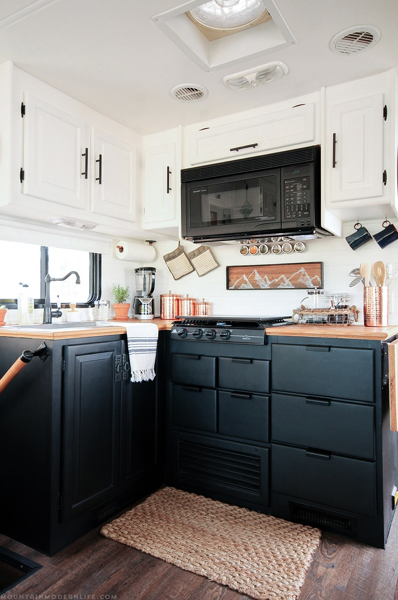 Two-Toned Kitchen Cabinets in RV | MountainModernLife.com