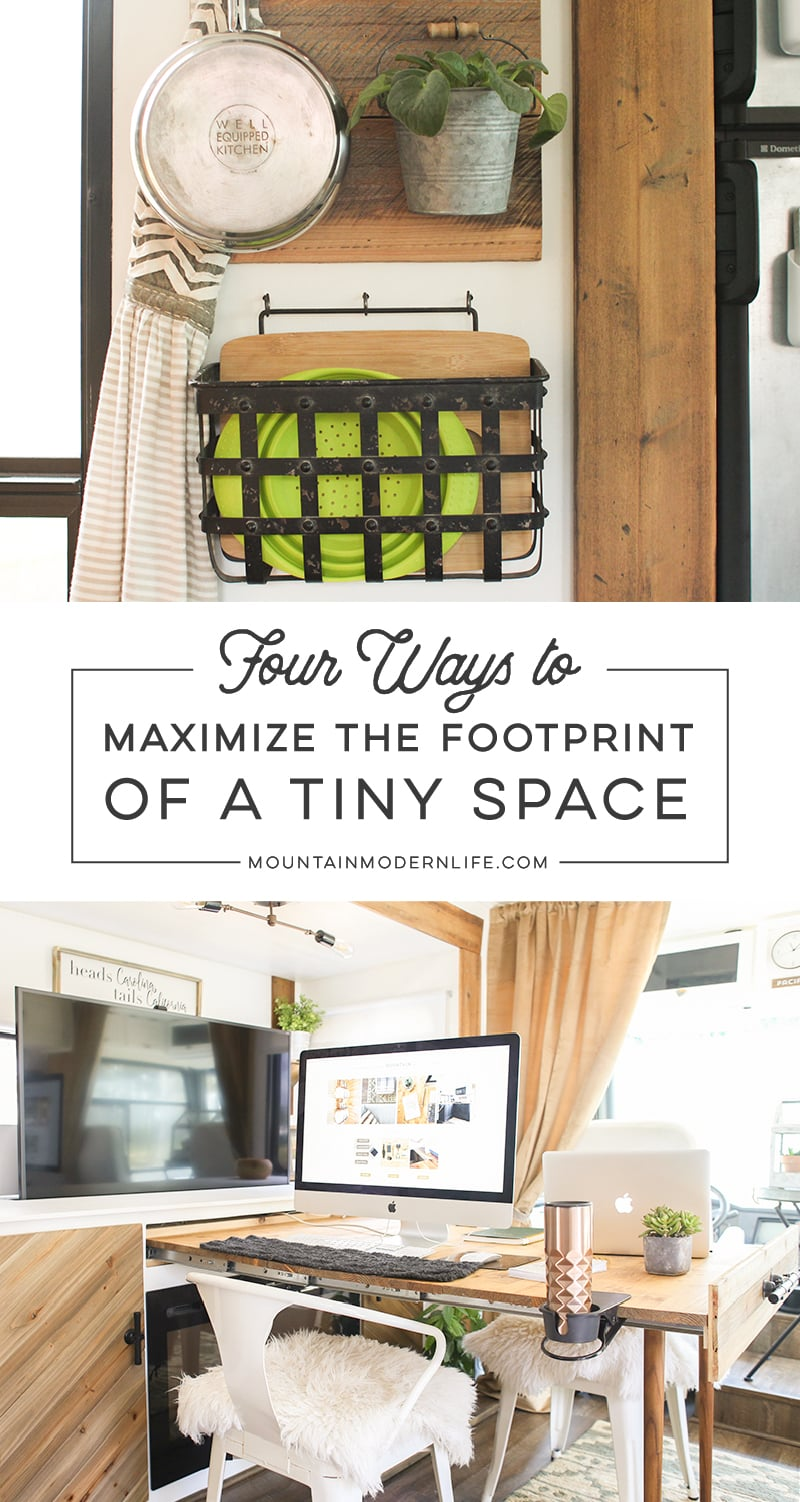 Looking for ways to maximize the space in your tiny house on wheels? Check out these four tips! MountainModernLife.com