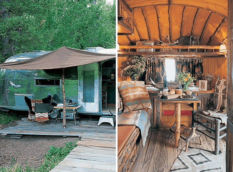 If white paint, various wood tones, and lots of texture is your thing, you'll love these rustic camper remodels! Photo: Ralph Lauren Airstream
