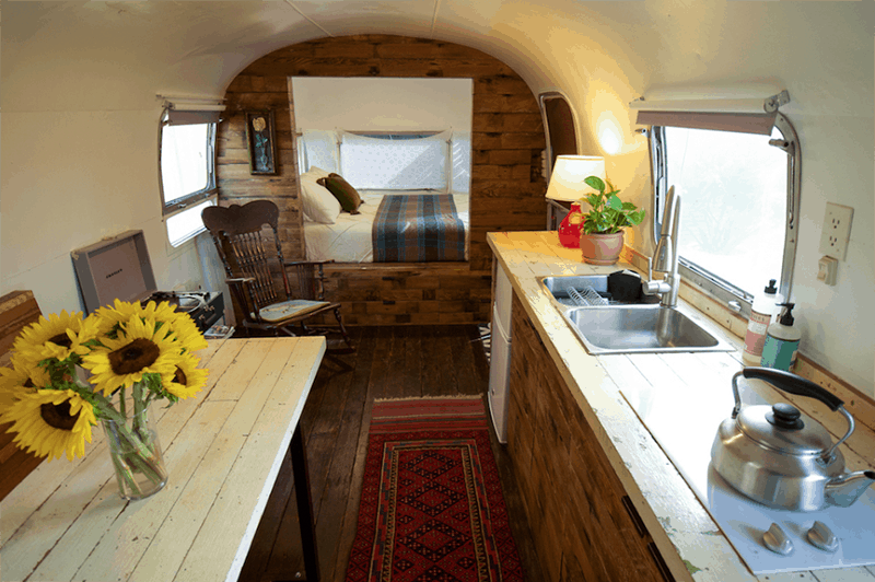 If white paint, various wood tones, and lots of texture is your thing, you'll love these rustic camper remodels! Photo Source: airbnb