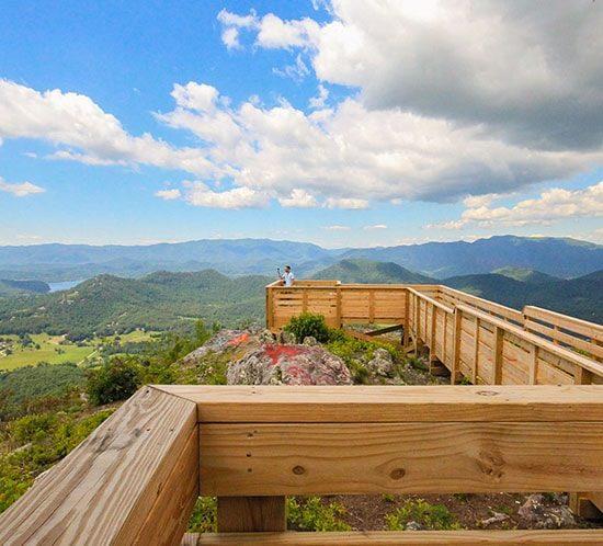 standing on platform at bell mountain. MountainModernLife.com