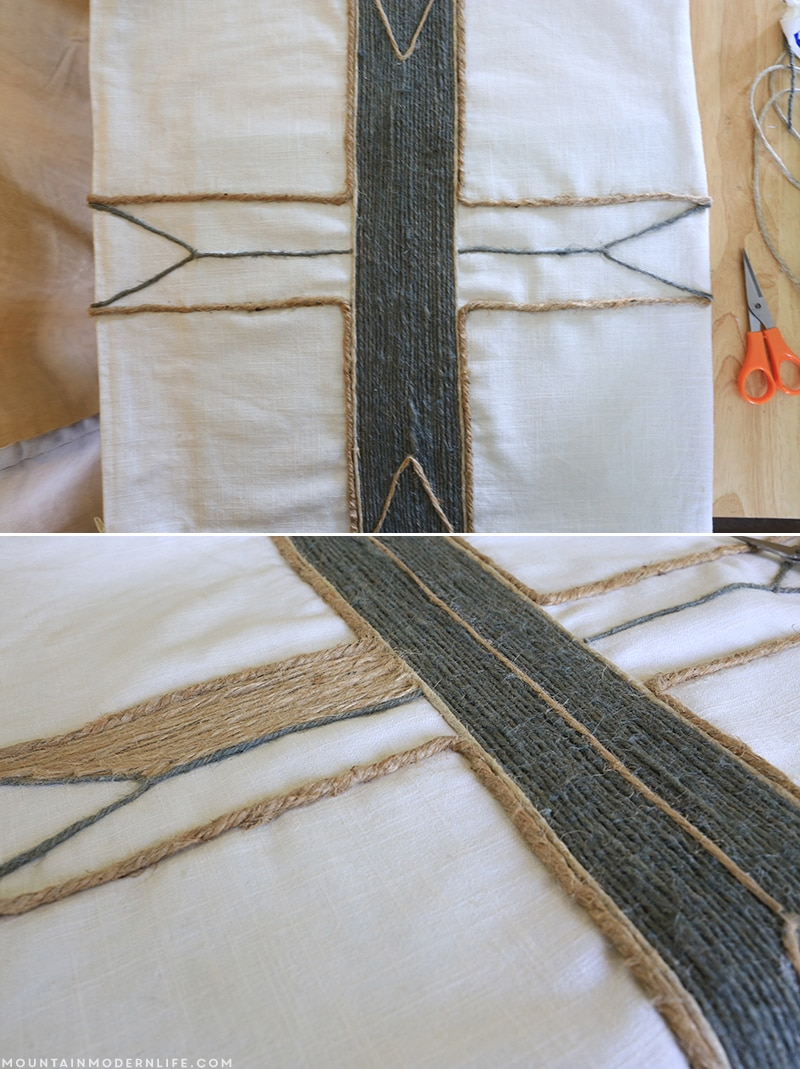See how easy it is to create these no-sew rustic pillows using twine, liquid stitch, and a little imagination! MountainModernLife.com