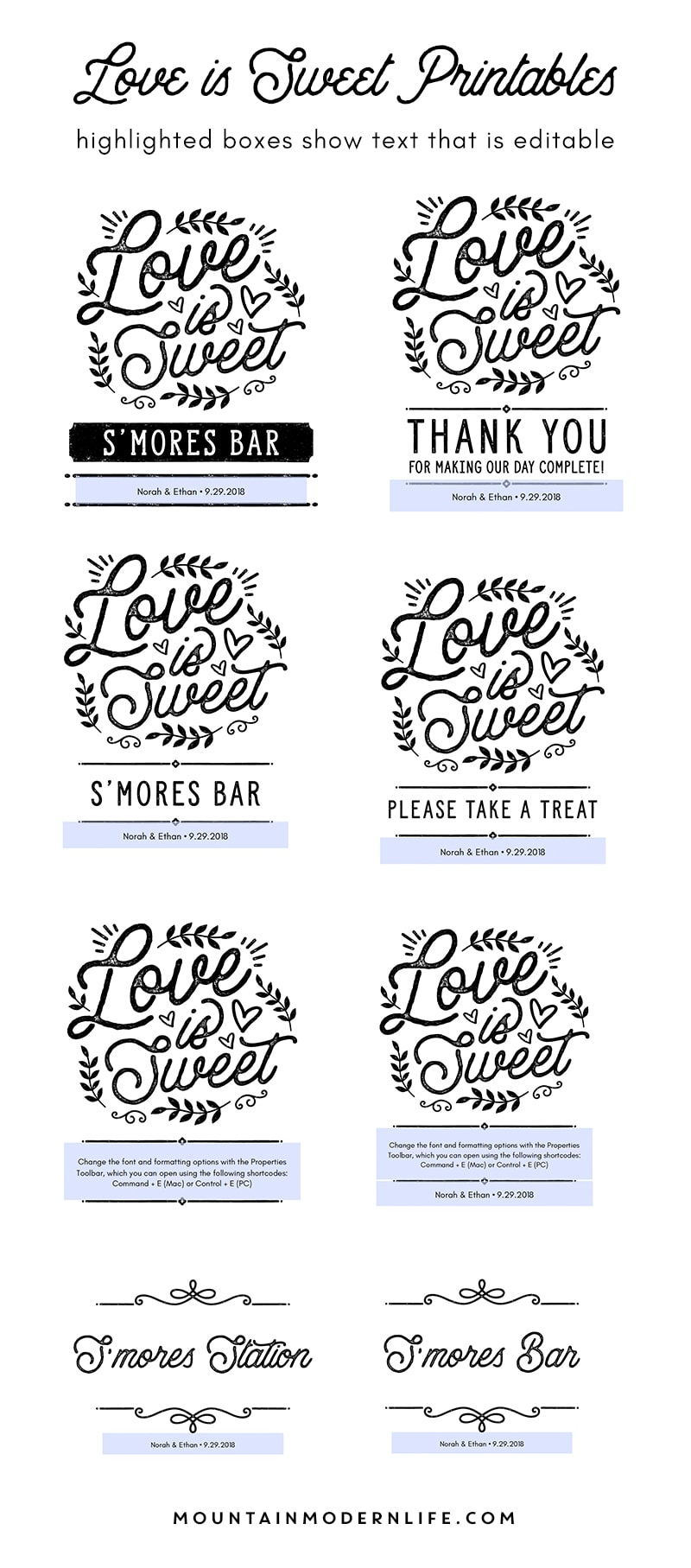 Instantly download these 8 x 10 Love is Sweet printables, perfect for displaying at a rustic wedding or baby shower!