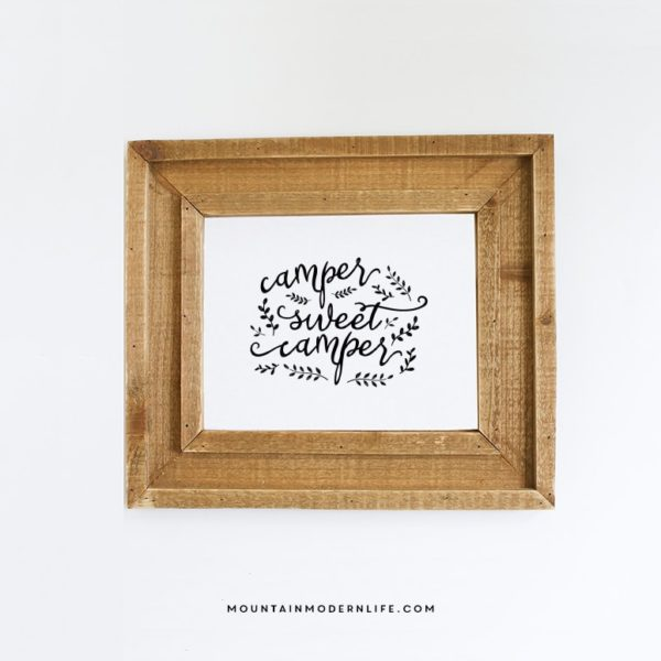 "Instantly download this 8x10 ""Camper Sweet Camper"" printable to display in your own tiny home on wheels! MountainModernLife.com"