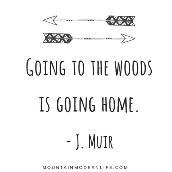 "Instantly download this printable with the famous John Muir quote, ""Going to the Woods is Going Home"". MountainModernLife.com #wanderlustprints"
