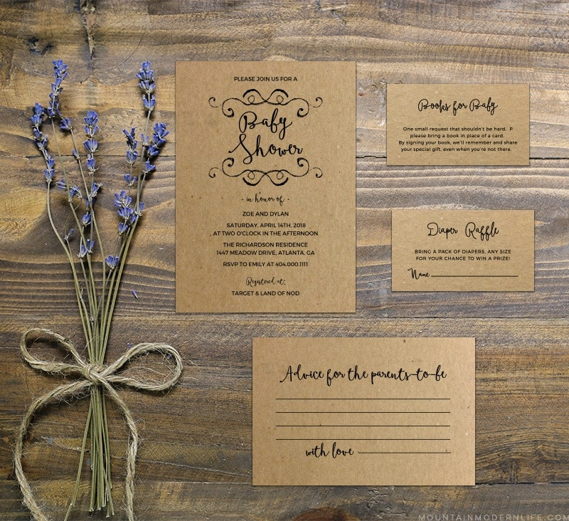 Printable diy rustic baby shower invitation set mountainmodernlife customize this diy rustic baby shower invitation and print as many copies as you need filmwisefo