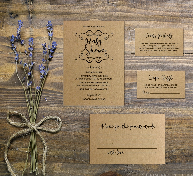 Printable Diy Rustic Baby Shower Invitation Set Mountainmodernlife Com