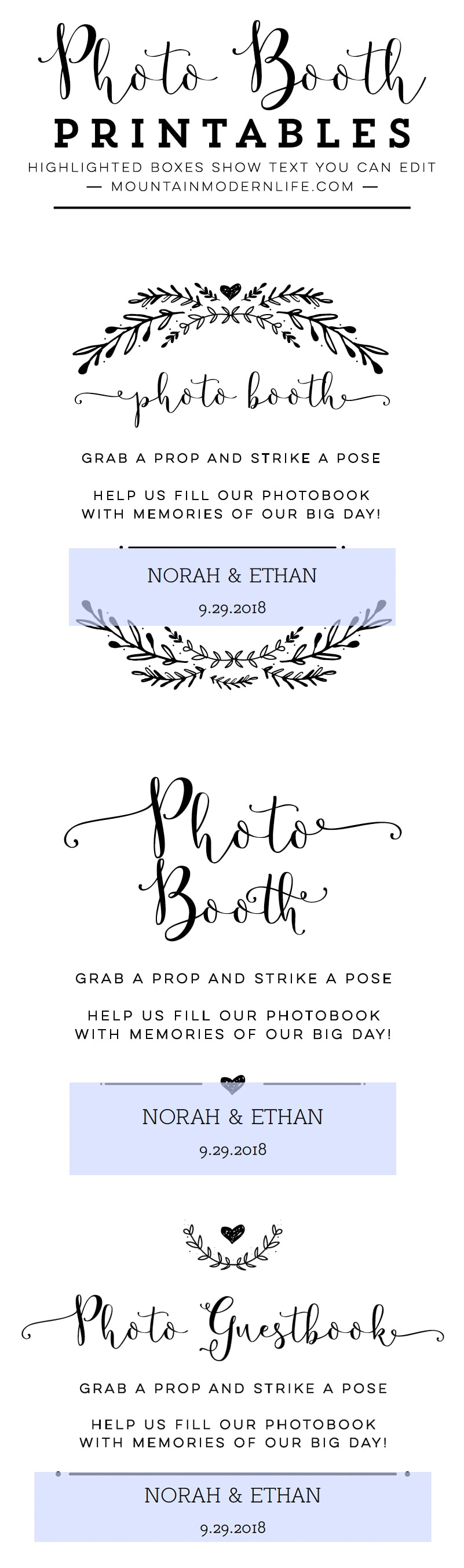 Instantly download this Photo Booth Wedding Sign Printable! Multiple options and sizes are included. MountainModernLife.com