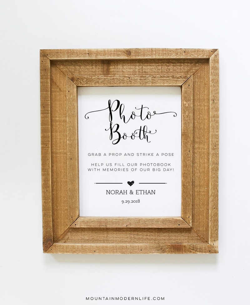 photograph about Wedding Sign Printable referred to as Picture Booth Wedding day Indication