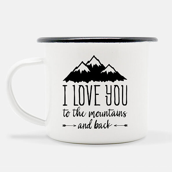 Enjoy your morning coffee in this I Love you to the Mountains and Back Camp Mug | MountainModernLife.com