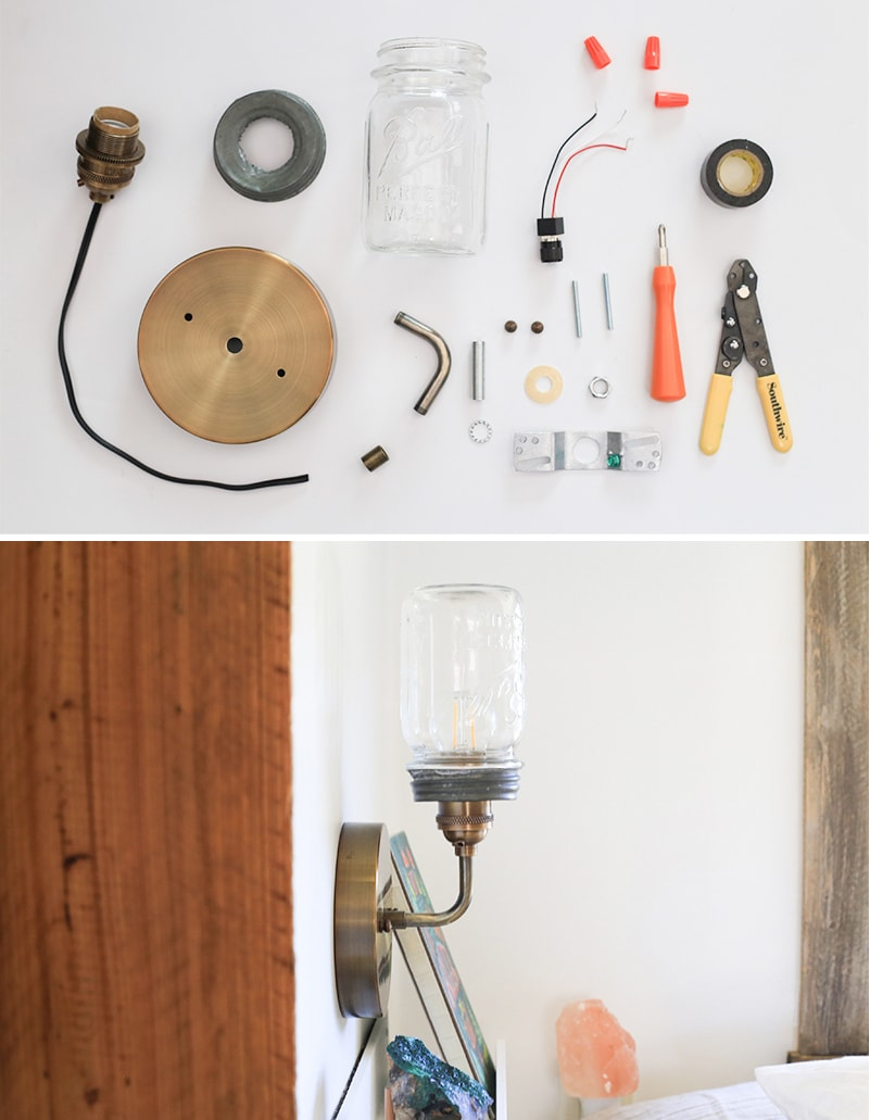 See how easy it is to make a Mason Jar wall light fixture with a dimmer switch, perfect for adding a rustic touch to your home or RV! MountainModernLife.com