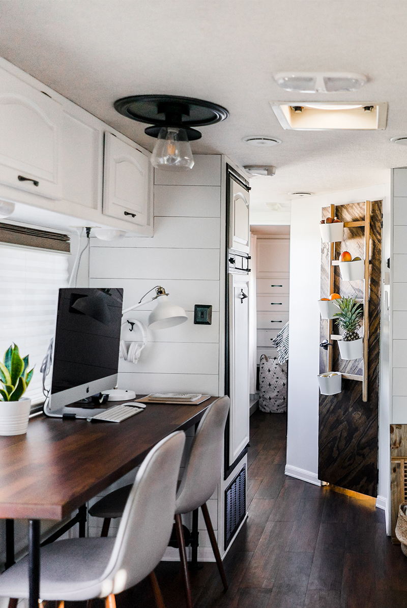 mobile workspace setup inside RV