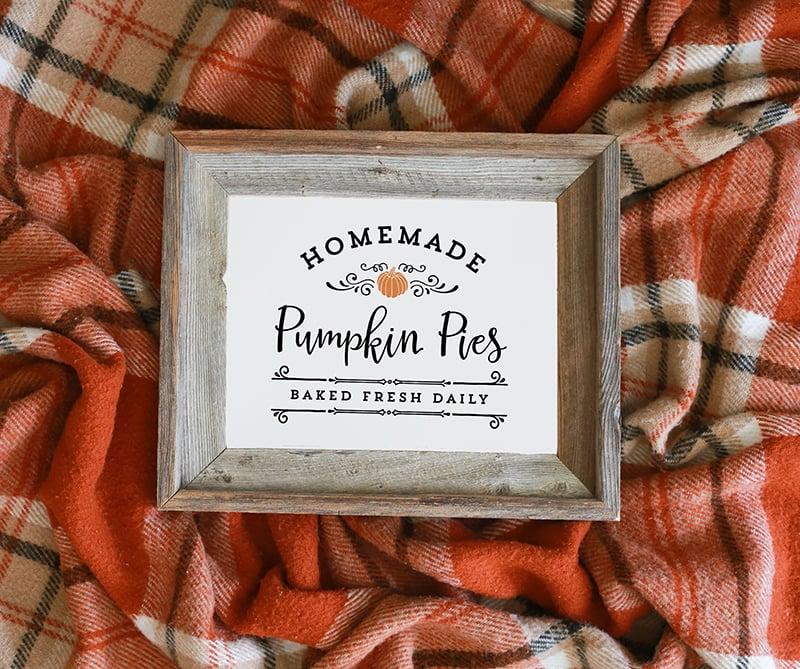 Homemade Pumpkin Pies Printable
