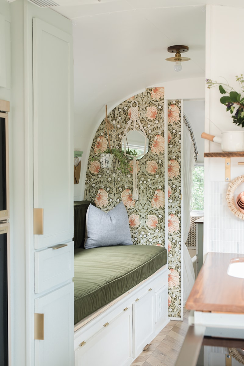 Tour this romantic Airstream that has been reimagined by an artist and textile designer, Bonnie Christine! #Airstream #camperremodel #tinyhometour