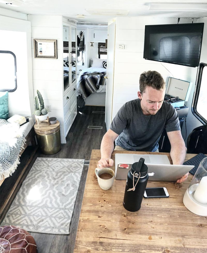 Tour this modern and eclectic camper from @OurTinyAbode!