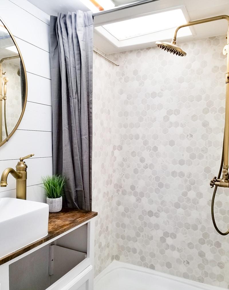 Remodeled RV bathroom