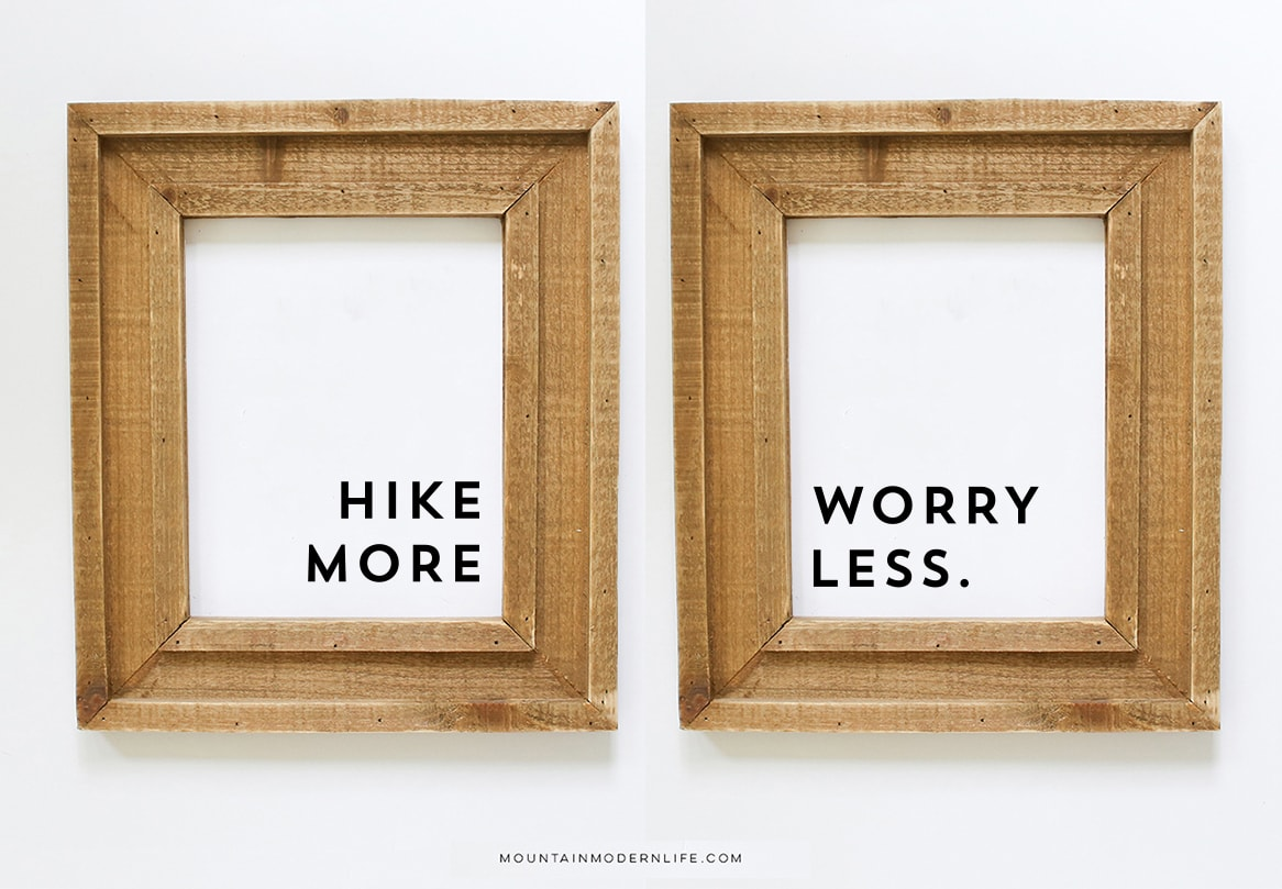 """Instantly Download this """"Hike More Worry Less"""" print or use the SVG cut files to make your own sign for personal use!"""