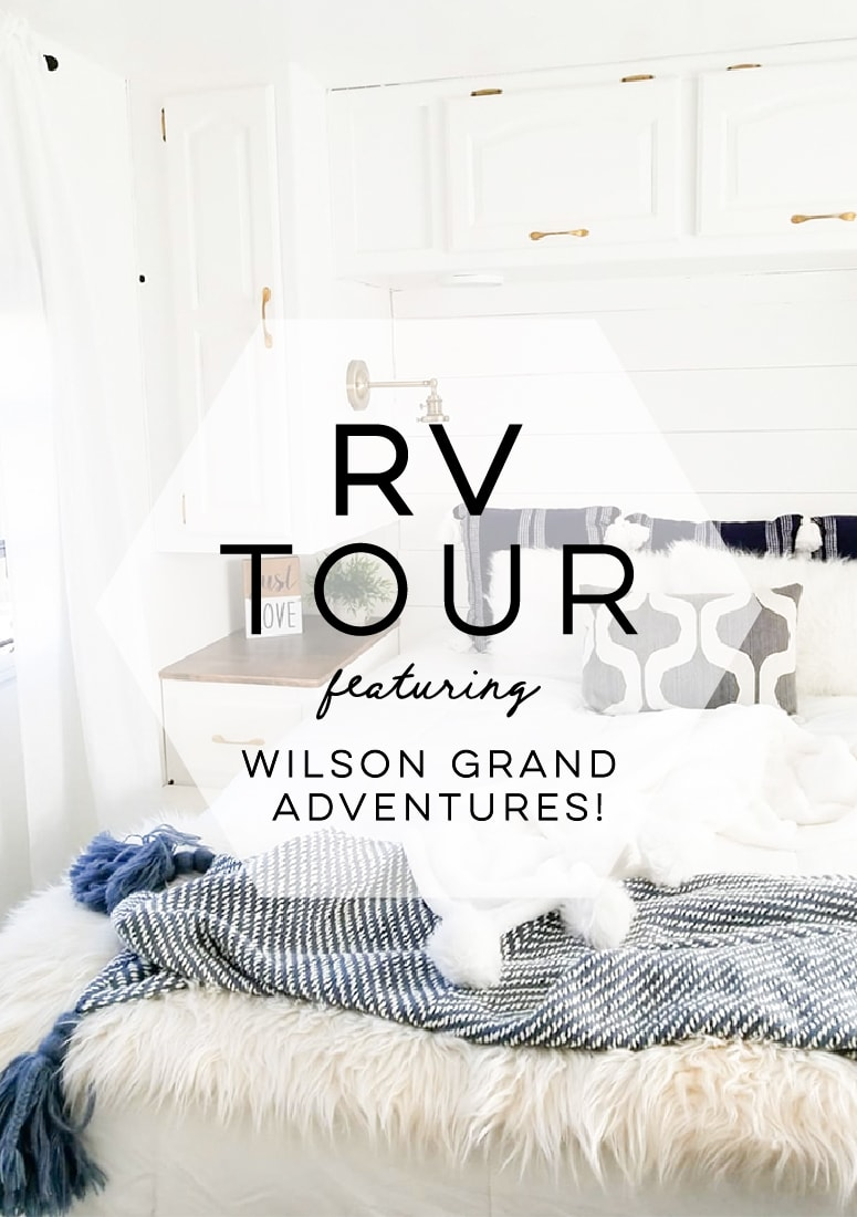 Tour this remodeled RV filled with lots of white, shiplap, and warm wood tones from @WilsonGrandAdventures! Featured on MountainModernLife.com
