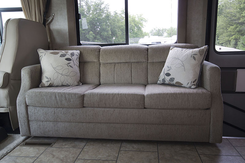 RV sofa in Tiffin Allegro Open Road