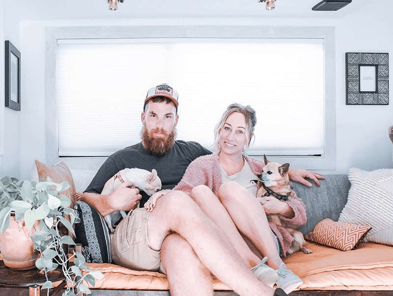 This couple lives on a blueberry farm in their bohemian-inspired RV! View the tour from @The_Ramblr_RV on MountainModernLife.com