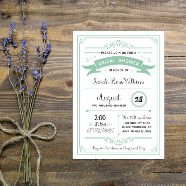 Instantly download this editable mint bridal shower invitation template from MountainModernLife.com!