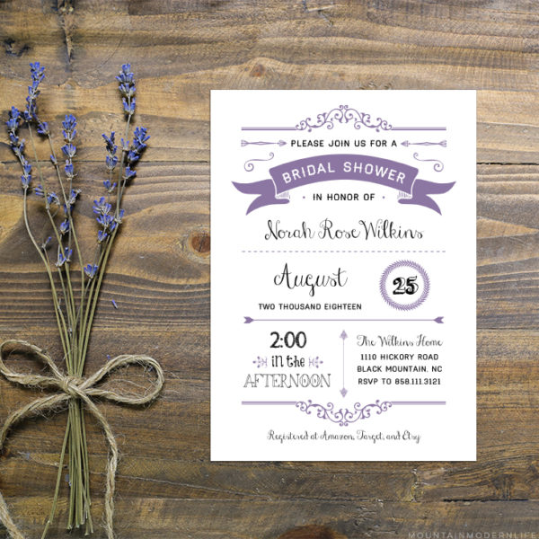 Instantly download this editable lavender bridal shower invitation template from MountainModernLife.com!