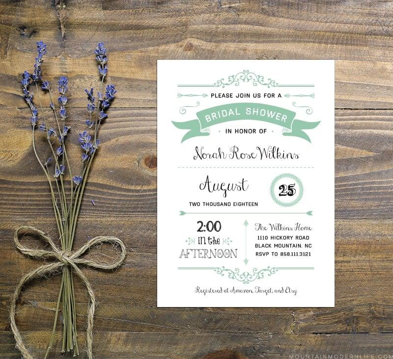 Mint Rustic Diy Bridal Shower Invitation