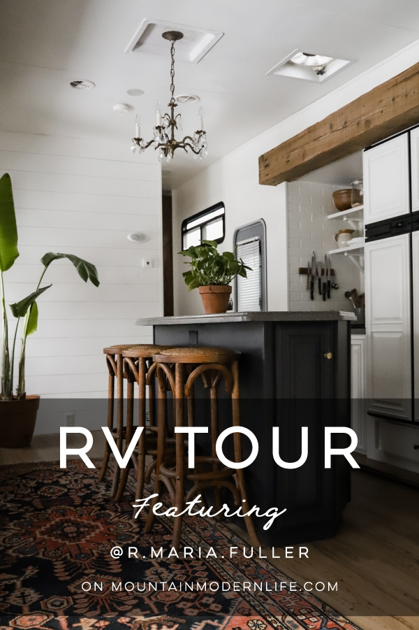 Tour this modern RV with old world charm from @r.maria.fuller that has wood beams that will make you swoon! See the before and after on MountainModernLife.com