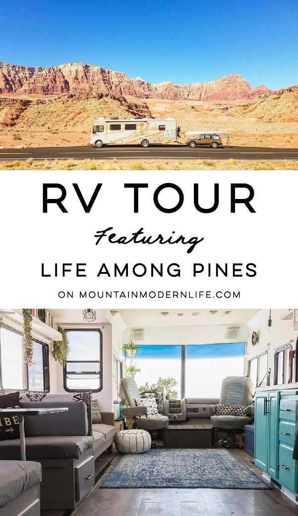 This RV has been transformed into an off-grid tiny home on wheels (and it's for sale!) Photos from @LifeAmongPines - view the tour on MountainModernLife.com