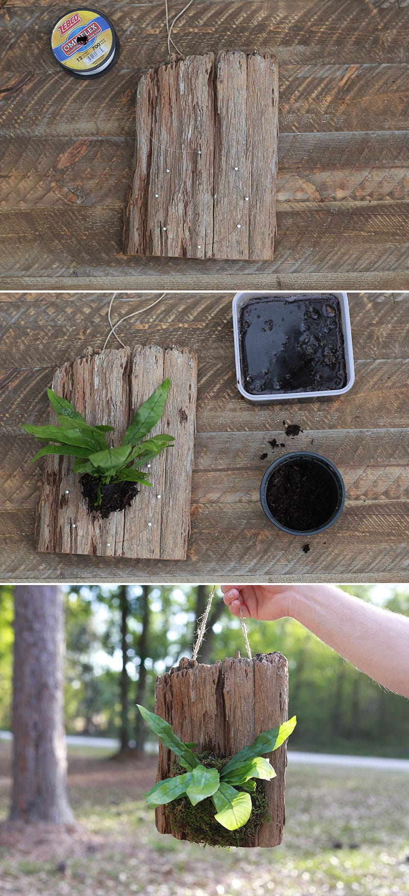 How to Make Hanging Wood Planters using Cork Bark