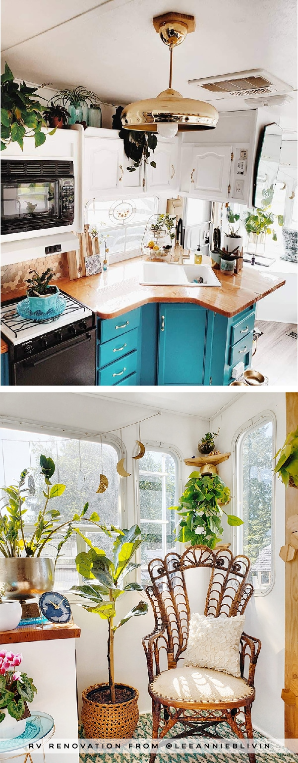 The interior of this bohemian 5th wheel is a botanical wonderland! Featuring @leeannieblivin on mountainmodernlife.com