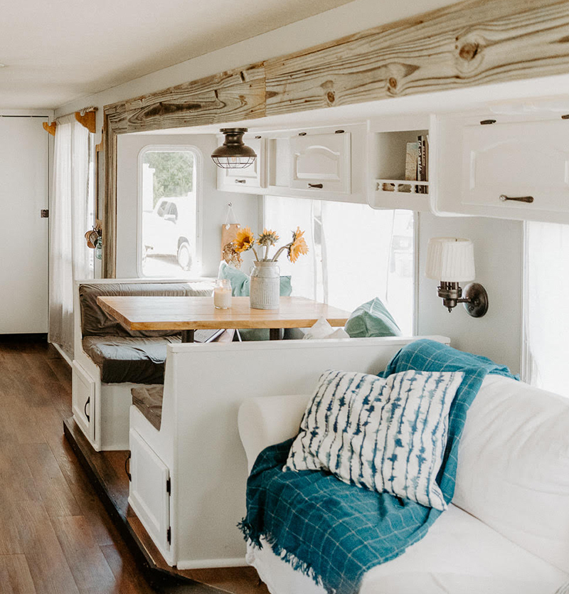 This outdated motorhome was transformed into a bright and beautiful home on wheels