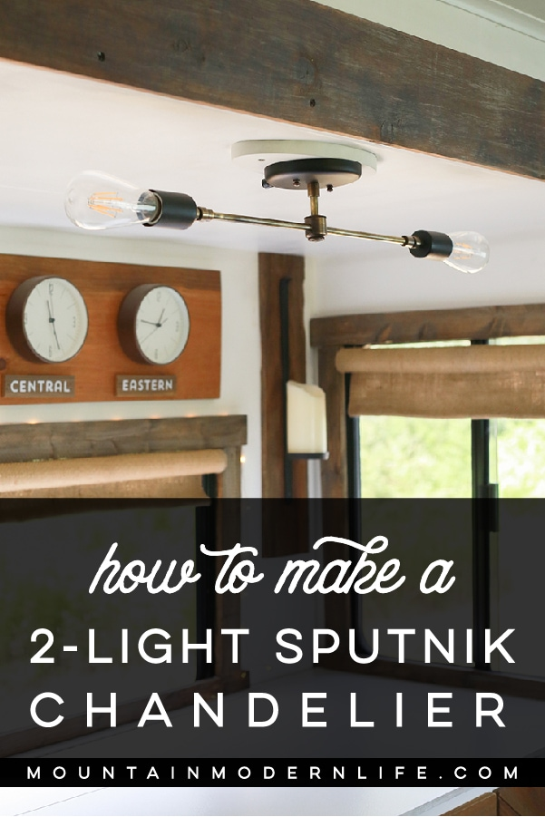 DIY 2-Light Sputnik Chandelier - See how easy it is to create and customize this mid-century modern light fixture! MountainModernLife.com