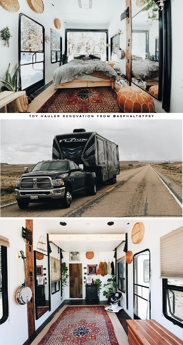Be prepared to fall in love with the earthy, rustic interior of this renovated Toyhauler