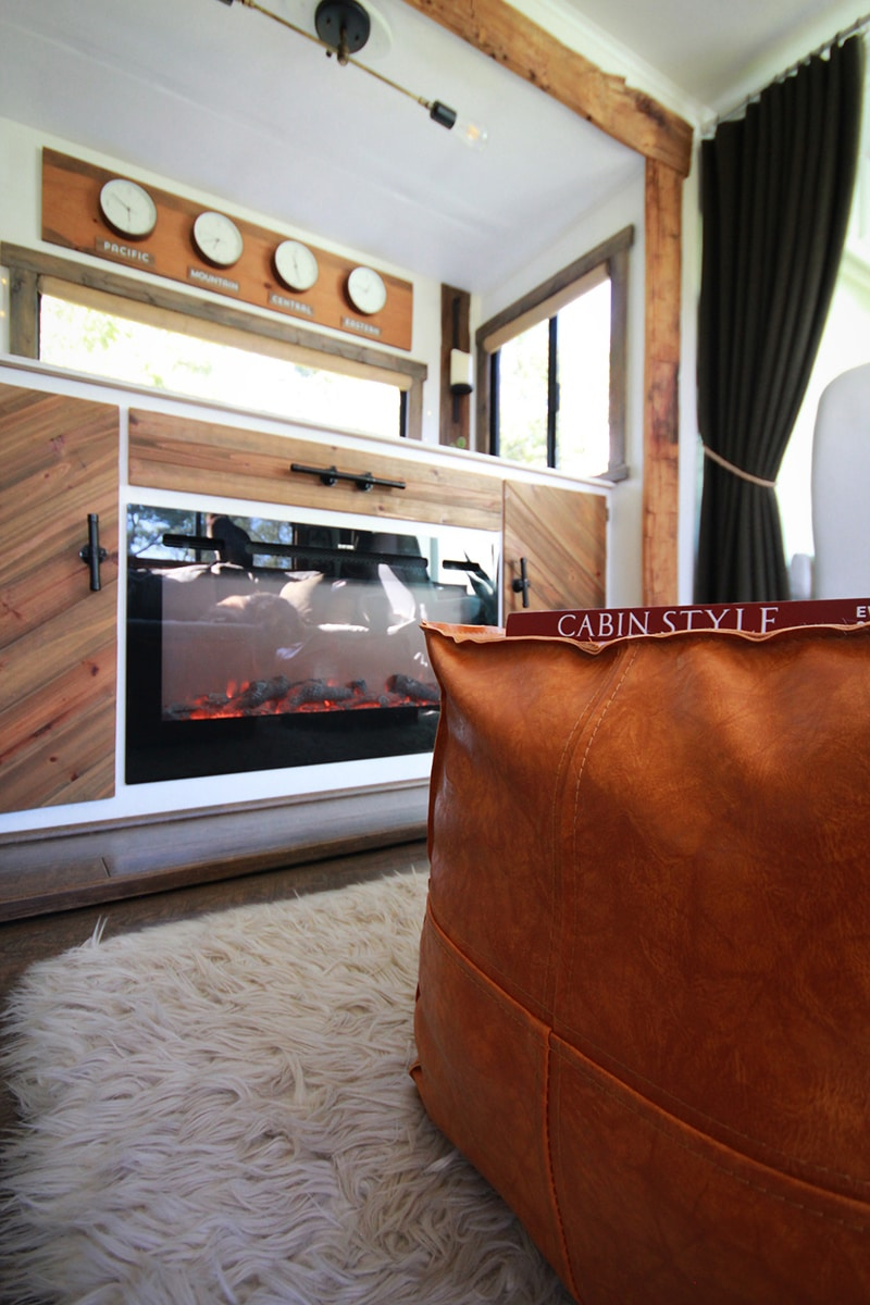 Faux Leather ottoman inside RV