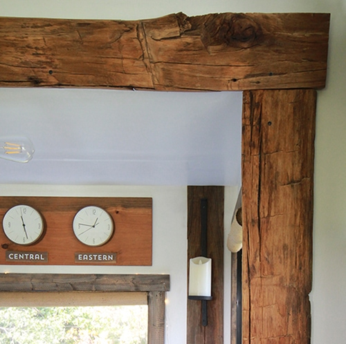 reclaimed hand-hewn barnwood around RV slide-out