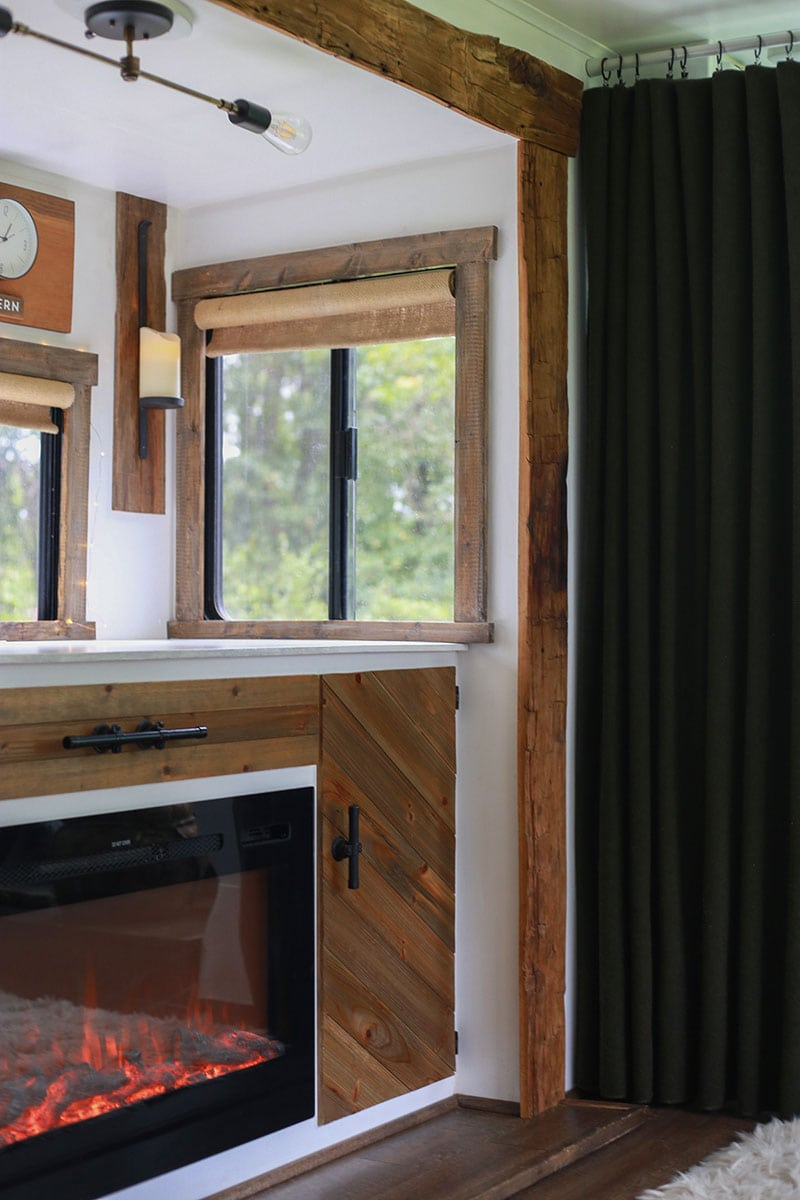 RV slide-out molding replaced with reclaimed hand-hewn barnwood skins