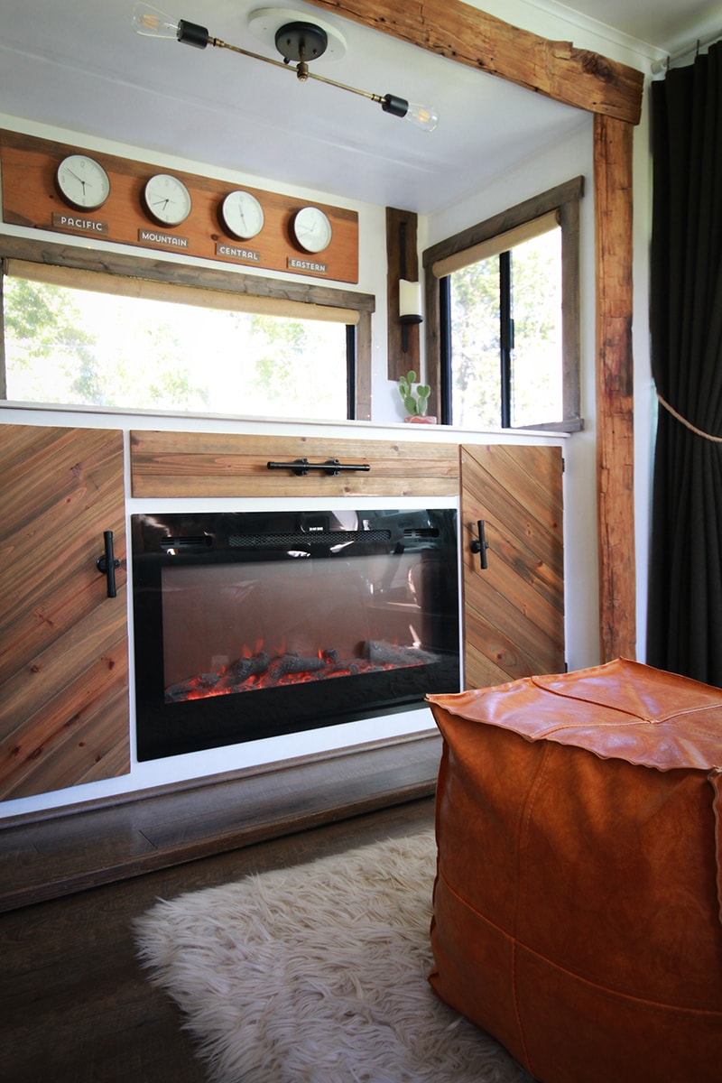 Rustic RV renovation with hand-hewn barnwood